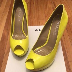 Aldo neon yellow high heels